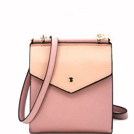 LS2042 Double Compartment Colorblock Cross Body Rose/N.Pink