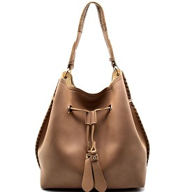 FL1256 Drawstring Whipstitched Bucket Hobo Taupe