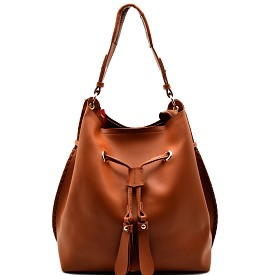 FL1256 Drawstring Whipstitched Bucket Hobo Brown