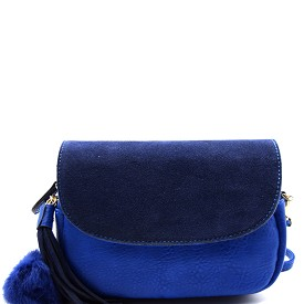 PP1173 Tassel and Pom Pom Accent Leather Flap Crossbody Blue