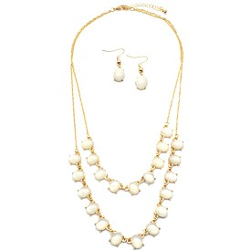 COS7081 Double Layer Faux Gem Chain Necklace Set White