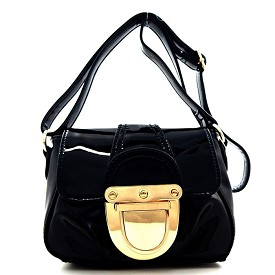 JB1901 Patent Faux-leather Turn-lock Accent Crossbody Bag Black
