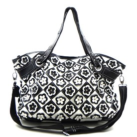 LB70 Genuine Leather Rhinestone Flower Patchwork Oversized 2 Way Tote Black White